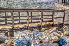 Drewniany przejście na skałach Fotografia Stock