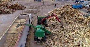 Drewniany przerób dla trociny dla produkcji paliwo brykietuje Wielki stos łupka dla przetwarzać w paliwo zbiory wideo