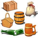 Drewniany pudełko, baryłka, kanwa worek z masowym produktem, pykniczny kosz, łamająca butelka i piwnego kubka Tematowe sześć ikon ilustracja wektor