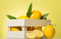 Drewniany pudełko pełno cytryny, blisko cytrusów kawałków na jaskrawym kolorze żółtym, Fotografia Royalty Free