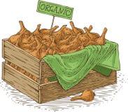Drewniany pudełko z żarówki cebulą Zdjęcie Royalty Free