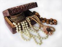 Drewniany pudełko z biżuterią Obraz Royalty Free