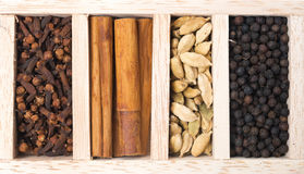 Drewniany pudełko z różnymi rodzajami pikantność, zakończenie, odgórny widok Obrazy Royalty Free