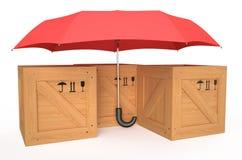 Drewniany pudełko zakrywający czerwonym parasolem royalty ilustracja
