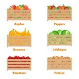 Drewniany pudełko z jesieni owoc i warzywo ilustracji