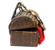 Drewniany pudełko z koralikami Zdjęcie Stock
