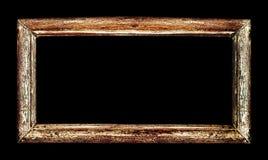 Drewniany rocznika klasyka ramy projekt odizolowywający nad czernią Zdjęcia Stock