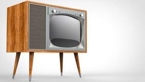 Drewniany rocznika telewizor z nogami royalty ilustracja