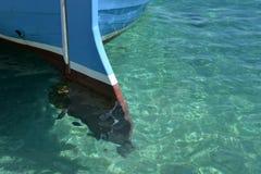 Drewniany rudder ostrze, tradycyjna łódź rybacka Obraz Stock
