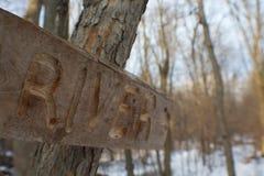 Drewniany rzeka znak Obraz Royalty Free