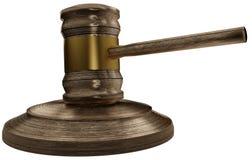 Drewniany sędziego młoteczek 3D-Illustration odizolowywający ilustracji