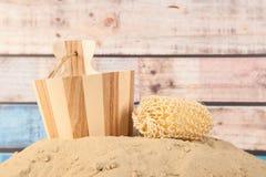 Drewniany sauna wiadro Obrazy Royalty Free