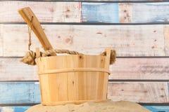 Drewniany sauna wiadro Fotografia Royalty Free