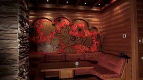 Drewniany sauna z kamiennym piekarnikiem luksusowy i śliczny wnętrze drewniany rosyjski sauna z tradycja rosjanina wzorem wnętrze Obrazy Royalty Free