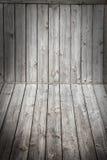 Drewniany sceny tło, podłoga i Pudełkowata drewniana szarość wsiada winietę zdjęcia stock