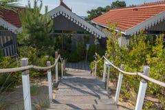 Drewniany schodowy sposób na pięknym i zielonym ogródzie Zdjęcia Royalty Free