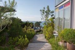 Drewniany schodowy sposób na pięknym i zielonym ogródzie Fotografia Stock