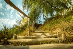 Drewniany Schodowy sposób na trawie wzgórze Zdjęcie Stock