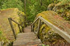 Drewniany schody prowadzi stopa Sampo góra zdjęcia stock