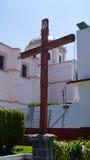 Drewniany sedno na zewnątrz kościół w Mexico Obrazy Royalty Free