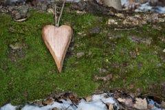Drewniany serce Zdjęcie Stock