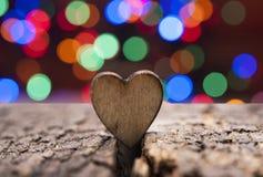 Drewniany serce na drewnianym tle obszyty dzień serc ilustraci s dwa valentine wektor Zdjęcie Stock