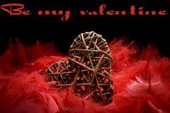 Drewniany serce w czerwonych piórkach Zdjęcie Royalty Free