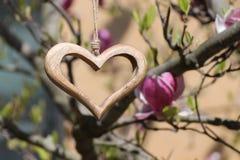 Drewniany serce w szczególe Zdjęcia Royalty Free