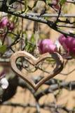 Drewniany serce w szczególe Obrazy Royalty Free
