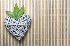 Drewniany serce z mądrymi liśćmi Fotografia Stock