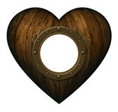 Drewniany serce Z portalem Zdjęcie Royalty Free