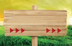 Drewniany signboard, rolny signboard pusta przestrze? dla pisa? royalty ilustracja