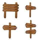 Drewniany signboards stać Wektorowi sztandary odizolowywający Fotografia Royalty Free