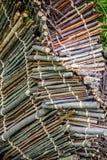 Drewniany skład z roślinami Zdjęcia Stock