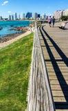 Drewniany sposób w plaży Fotografia Stock