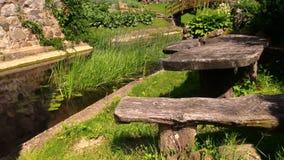 Drewniany stół i ławka blisko małego rzecznego strumienia zbiory wideo
