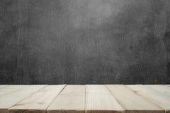 Drewniany stół lub drewniane deski z ścianą dla tła betonowej ściany lub marmuru Obraz Royalty Free