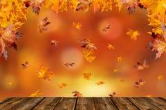 Drewniany stół przed kolorowym jesień krajobrazem fotografia royalty free
