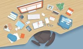 Drewniany stół z recesją, krzesło, monitor, książki, notatnik, hełmofony, telefon Nowożytny i elegancki miejsce pracy royalty ilustracja