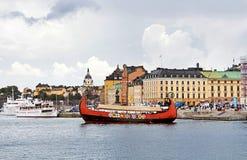 Drewniany statek w centre Sztokholm, Szwecja Zdjęcia Royalty Free