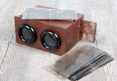 Drewniany stereoskop z szklanymi talerzami Zdjęcie Royalty Free