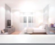 Drewniany Stołowego wierzchołka tło W sypialni Zdjęcia Stock