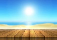 Drewniany stołowy przyglądający out defocussed plaża krajobraz ilustracji