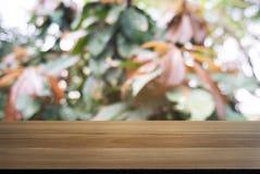 Drewniany stołowy wierzchołek i plama świeży zielony bokeh od ogródu Zdjęcie Royalty Free