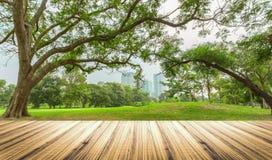 Drewniany stołowy wierzchołek na ogródzie w miasta tle Fotografia Royalty Free