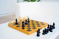 drewniany szachowy set Obrazy Royalty Free