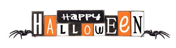 Drewniany Szczęśliwy Halloween znak odizolowywający na bielu Zdjęcia Royalty Free