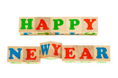 Drewniany sześcian z wpisowym SZCZĘŚLIWYM nowym rokiem Fotografia Stock