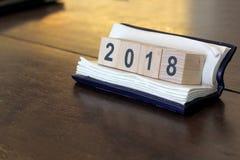 Drewniany sześcianu kalendarz 2018 Obrazy Stock