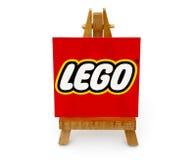 Drewniany sztaluga papier z słowem Lego Zdjęcie Stock